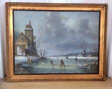 Genuine Large 1900s Signed R.A. SELTZER Oil Painting,Winter Landscape,Old Frame