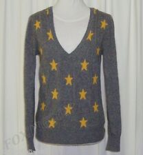 BEAUTIFUL BENETTON GREY MARLE YELLOW STAR V-NECK JUMPER AUS 10/12