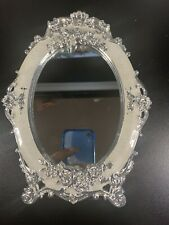Table Top Vanity Mirror silver flowers white inlay