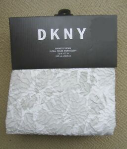 DKNY Floral Fields Microsculpt Fabric Shower Curtain 72 x 72  White + Gray NEW
