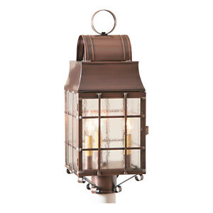Irvin's Country Tinware Washington Post Lantern in Antique Copper