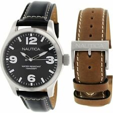 NAUTICA Mens Black 44mm Dial Leather Black & Brown Band Watch NAD13500G