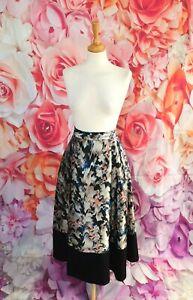 L.K. BENNETT Black multi JUANA midi flare skirt size 12