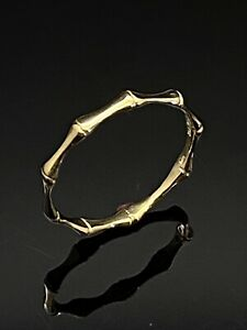 Solid 14K Yellow Gold 2.5mm Bamboo Design Band Stackable Band Ring