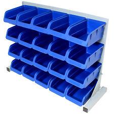 20PCE FREE STANDING BLUE PLASTIC STORAGE BIN KIT GARAGE/WORKSHOP/WORKBENCH BINS