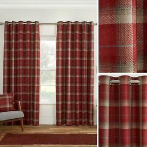 Red Eyelet Curtains Blackout Tartan Check Ready Made Cosy Ring Top Curtain Pairs
