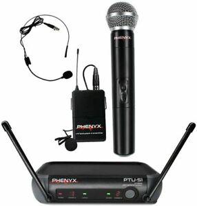 New PHENYX Pro WIRELESS MICROPHONE Dual UHF Cordless Dynamic Mic Set PTU-51B NIB