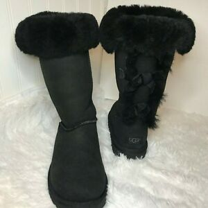 """Ugg """"Bailey Bows"""" Black Tall Boots Size 7"""