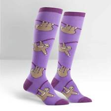 Sloth on Women's Knee High Purple Socks by Sock It To Me -