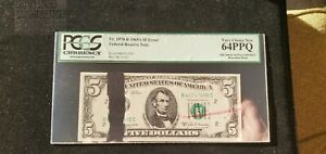 1969 A $5 Dollar FRN Large Ink Smear Error PCGS 64PPQ BEP red rejection mark