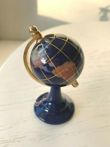 Small Rotating Desktop Globe Inlaid Lapis Semi Precious Gem Stones Brass Stand