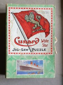 X954 Cunard White Star Wooden Jig-Saw Puzzle R.M.S. Queen Mary Complete