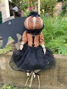 "Pumpkin Head Lady 16"" Sitting Halloween Cloth Decor Porch Greeter Figure Doll"