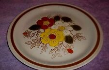 "OOD BROOK Stoneware Dinner Plate Beige With daisies 10 1/2"" WIDE"