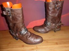 *2* SUPERB GORGEOUS  BROWN LEATHER  CHAIN STUD ANKLE  BOOTS  EU 39 UK 6