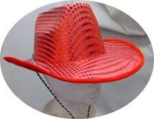 Chapeau de cow-boy pailleté rouge [700045] deguisement costume carnaval show