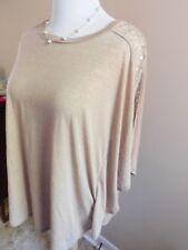 Diane Gilman DG2 Sand color Poncho blouse with cryatal studs xL/1X