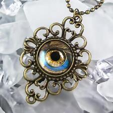 Futuristic Steampunk Robot Eyeball Antique Bronze Filigree Fantasy Necklace