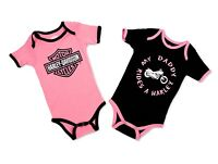 Harley Davidson Infant & Newborn Baby girl 1 Black & 1 Pink Leotards