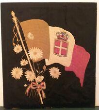 Rare Antique Sailor Needlework, Maritime Navel Art, Italian Flag Framed 1850's