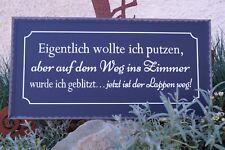Metall Schild -Eigentlich wollte ich putzen-40x20cm schwarz Text Spruch Tafel