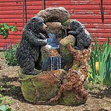 SH380324 - Grizzly Gulch Black Bears Sculptural Fountain w/Recirculating Pump!