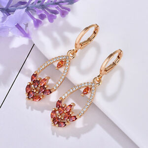 Flower Jewelry Gorgeous Natural Red Garnet Yellow Gold Plated Dangle Earrings