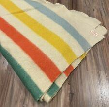 """Vintage ORR Health Blanket Wool Hudsons Bay Colorful Stripes Design 79"""" x 66"""""""
