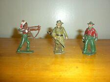 3 Vintage Lincoln Log Metal Figurines Indian, Cowboy & Hunter