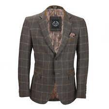 Mens Herringbone Tweed Check Blazer Vintage Tailored Fit Smart DESIGNER Jacket Chest UK 50 EU 60 Earth Brown