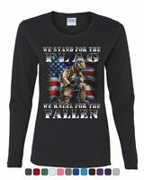 We Stand for the Flag Women's Long Sleeve Tee Veteran Military POW MIA Army Navy