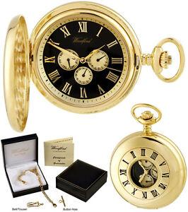 Woodford Half Hunter Pocket Watch 3-Dial Day/Date Quartz, GP Free Engraving 1245