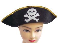 BLACK   GOLD PIRATE SKULL   CROSSBONES FANCY DRESS HAT 7977d6df01b6