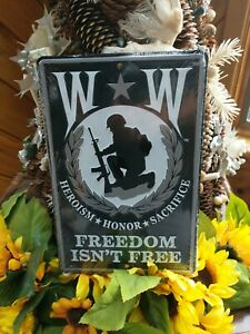 """Wounded Warriors freedom is t free heroism 8""""x12"""" Aluminum License Plate Tag"""