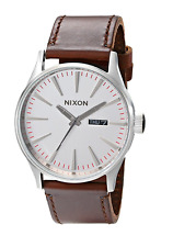 New Nixon Sentry Leather Silver Brown A1051113 Men's Watch