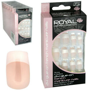 Royal 24 Glue-On Nail French Manicure Petite Nails Pack of 6