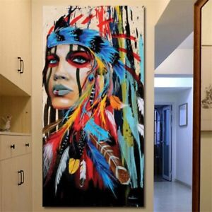 Canvas Oil Painting Wall Art Picture Art Abstract Indian Woman Decor Core MN