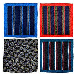 "15"" SANTOSTEFANO Italy LOT of 4 Striped Silk Pocket Square Handkerchief"