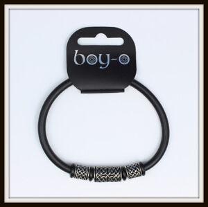 CELTIC BLACK RUBBER & PEWTER BEAD BANGLE ~ FROM BLACK DRAGON ~ UK MADE