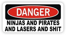 Funny Hard Hat Sticker | DANGER - NINJAS PIRATES LASERS Welding Helmet Decal