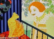 """Daniele Akmen (Monegasque, born 1945) RARE """"MAN WITH CAT""""  S/N 41/225"""