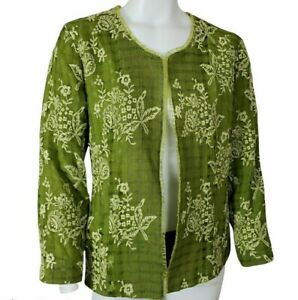 Womens Floral Embroidered Blazer Jacket 10- 12 Green Open Front Long Sleeve