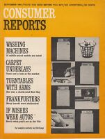 September  1966 Consumer Reports Magazine,  Washing Machines , Turntables , Auto