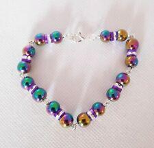 Handmade Rainbow Hematite Bracelet Clasp UK