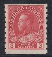 "Canada MINT OG Scott #130  3 cent carmine  ""KGV Admiral COIL""  F"