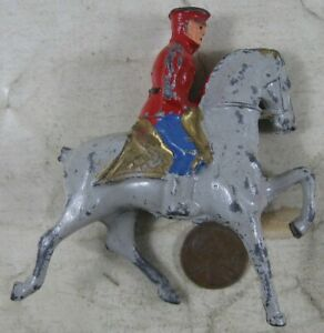 Vintage Manoil Lead Military Man on Horse in Blue