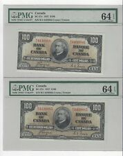 *1937*Can $100 Note BC-27c, PMG MS-64 EPQ  Coy/Tow SN# BJ 4430885 & 86 Seq Pair