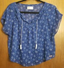 Hollister - Ladies Navy Blue Sheer Blouse with Tassles - Small