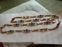 Vintage Colored Ball Beads & Chain Gold Tone Necklace