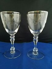 """2 Clear Crystal ? Stemmed  Etched Wine Glass 6 1/4"""" w/ Silver rim"""